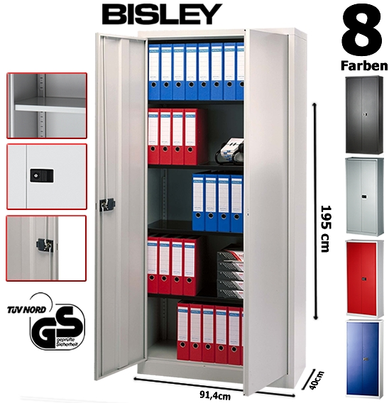 bisley aktenschrank aus metall abschlie bar inkl 4 einlegeb den 8 farben ebay. Black Bedroom Furniture Sets. Home Design Ideas