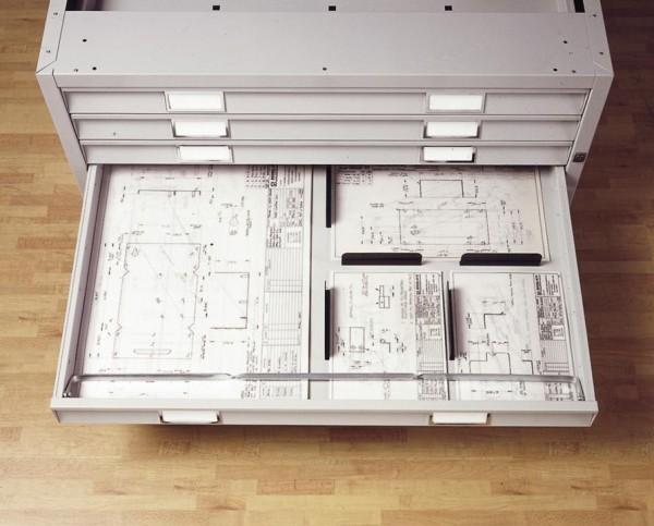 Planschrank Fachteiler aus Stahl - 2 Stück